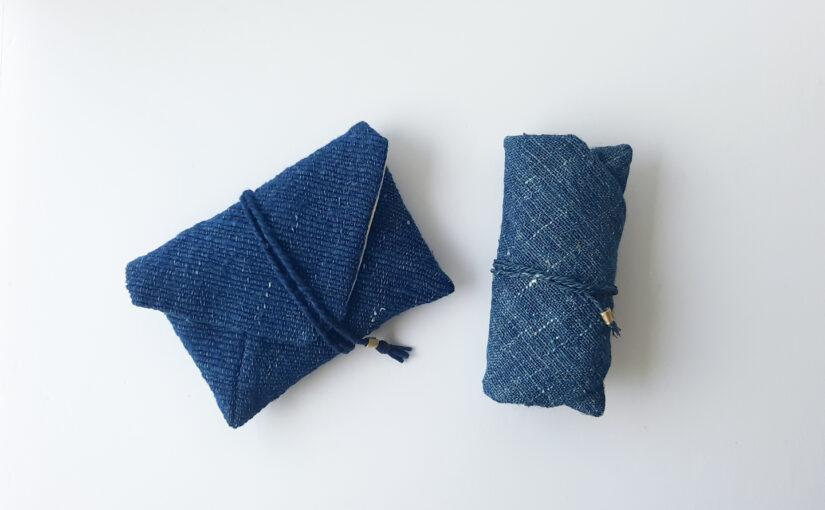 藍染めポーチの織り~仕立て。
