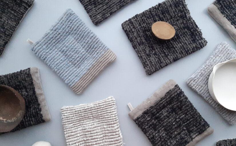 手織りのポットマットと素材のこと。